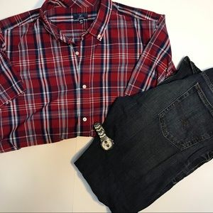 George striped causal button down
